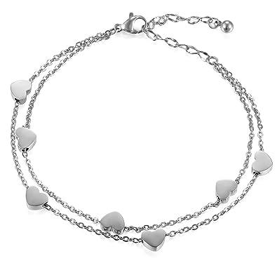 Cupimatch Women Lady Elegant Adjustable Stainless Steel Love Infinity Chain Bracelet Anklet Anniversary Mothers Day Gift PjgRlpA