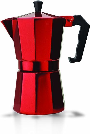 Primula - Cafetera espresso de aluminio para café expreso de cuerpo completo - Fácil de usar - Hace 1 taza, Rojo, Rojo, 6 tazas, 1