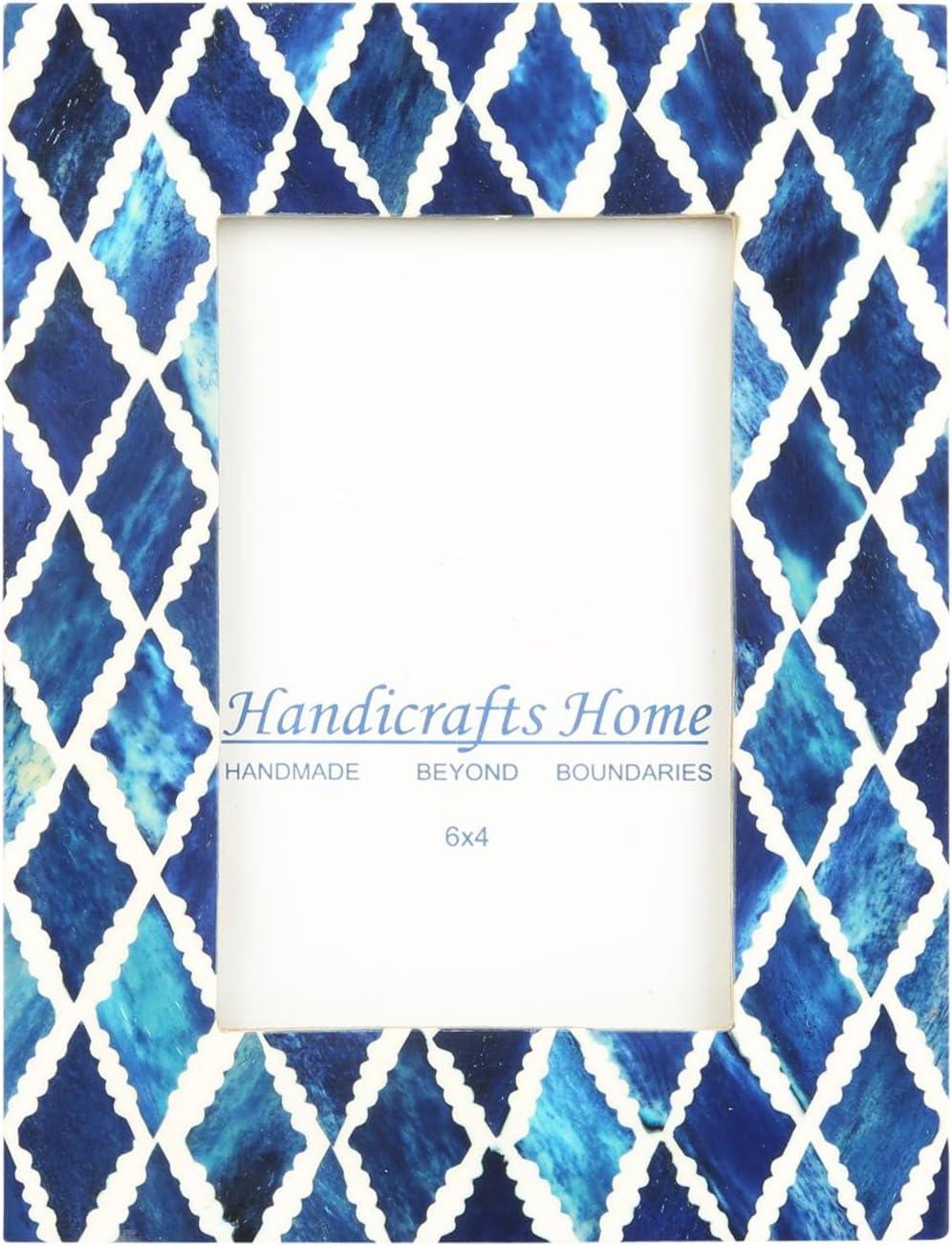 Handicrafts Home 4x6 Photo Frame Blue White Bone Mosaic Moroccan Picture Frames