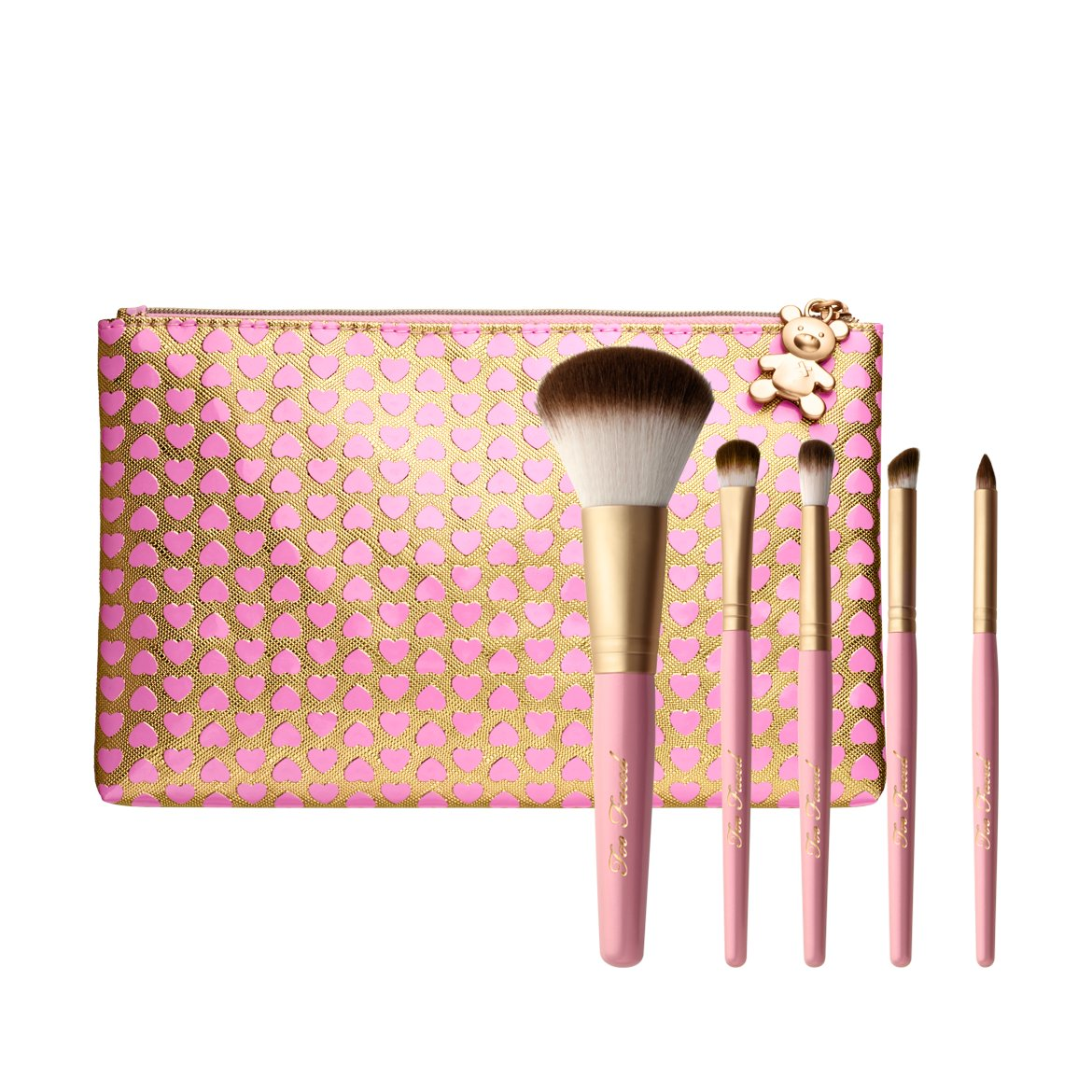 too faced kabuki brush. too faced teddy bear hair professional 5 piece brush set kabuki