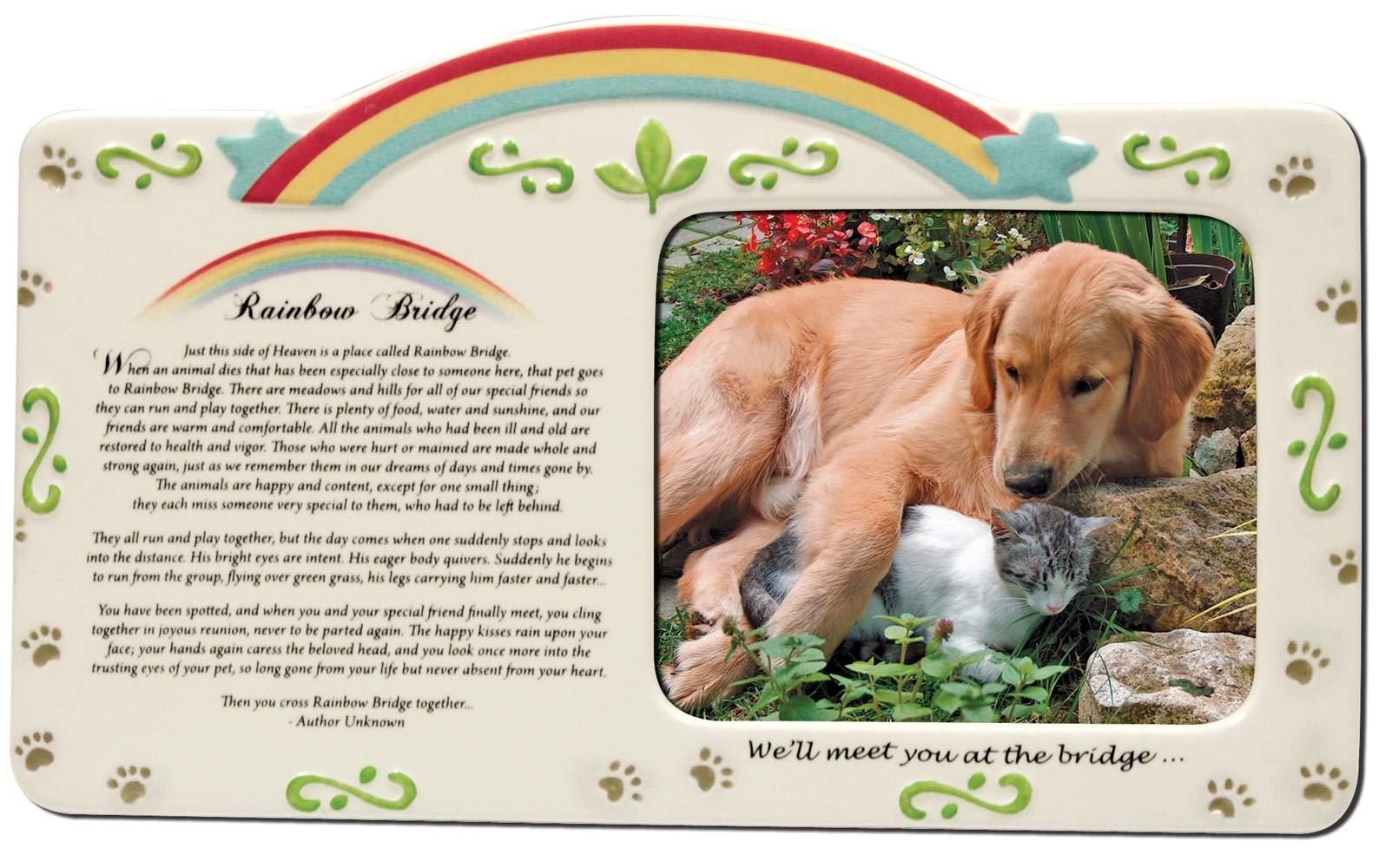 instecho Pet Bereavement Photo Frame Rainbow Bridge Poem
