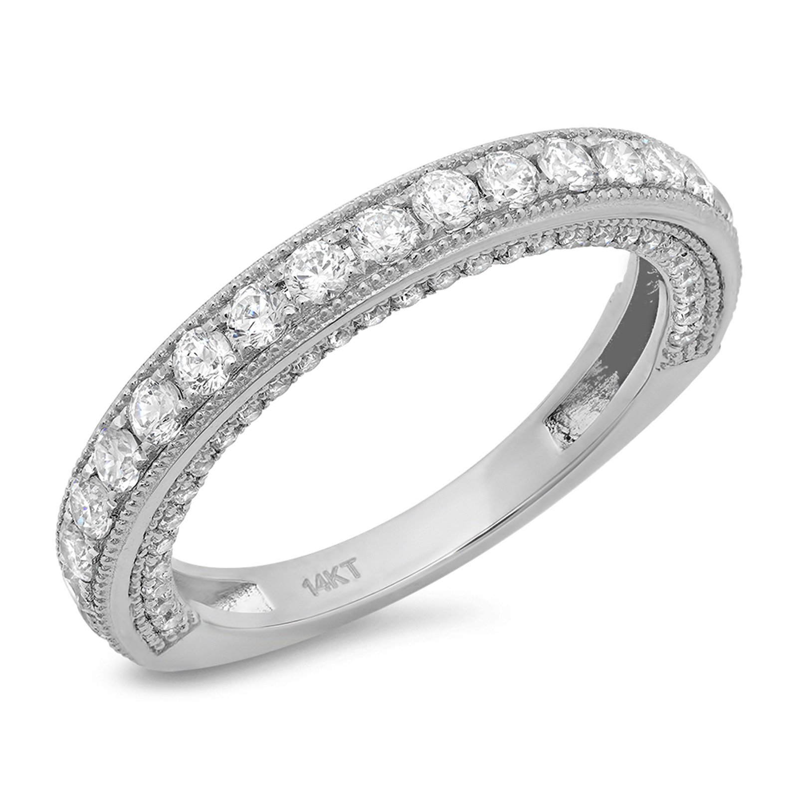Clara Pucci 1.10 CT Round Cut CZ Pave Set Wedding Bridal Eternity Engagement Band Ring 14k White Gold, Size 6.5 by Clara Pucci
