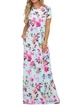 d4fdc9d7f4f Image Unavailable. Image not available for. Color  MIROL Women s Summer  Casual Short Sleeve Floral Print High Waist Long Maxi Dress with Pockets