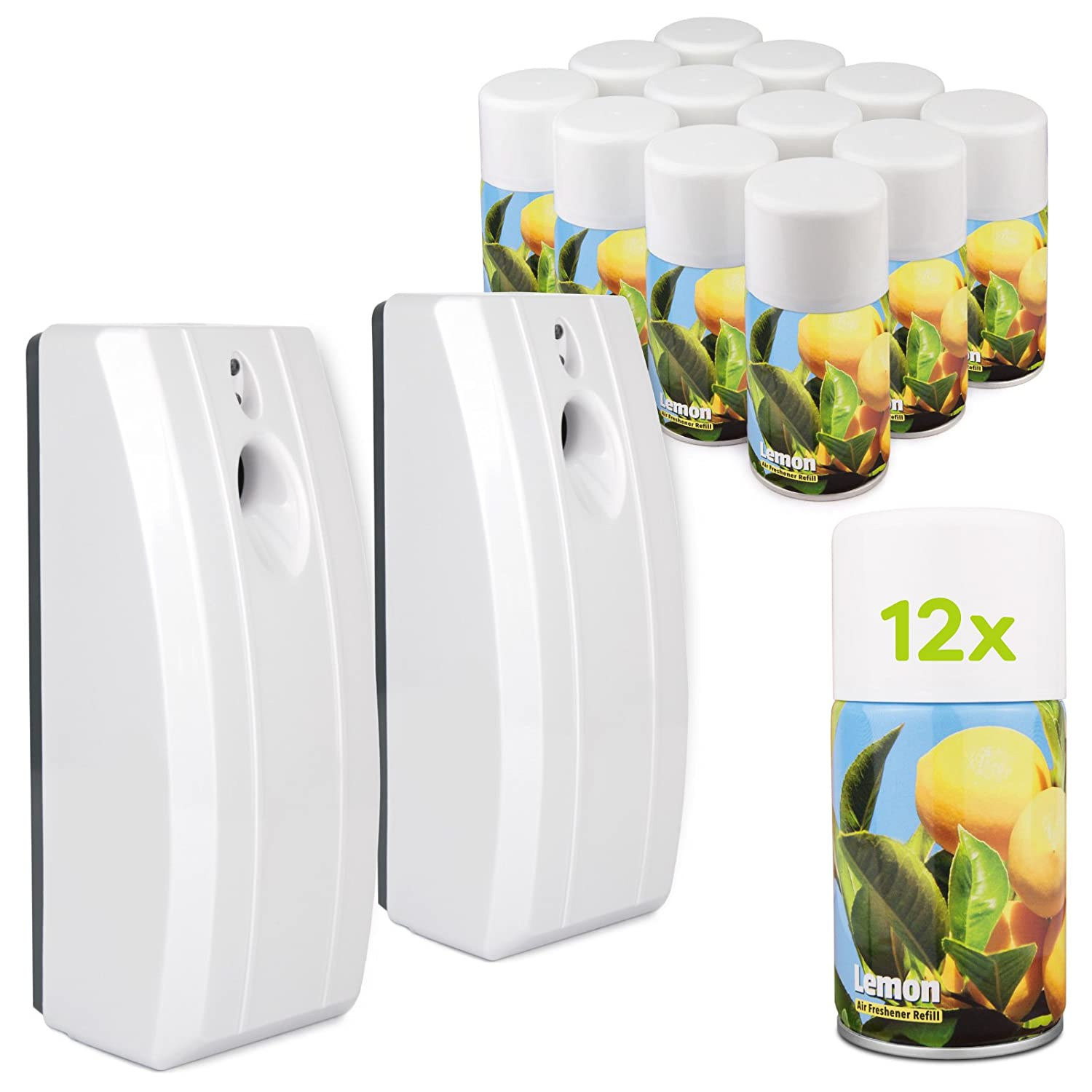 DripDropDry Complete Starter Set - 2 Automatic Air Fresheners & 12 Lemon Aerosol Refill Cans - Commercial Toilet (Grey)