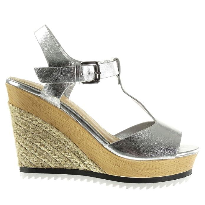 a31cf69db0893d Angkorly Chaussure Mode Sandale Espadrille Plateforme Salomés Peep-Toe Femme  Corde Brillant Bois Talon compensé Plateforme 11 CM  Amazon.fr  Chaussures  et ...