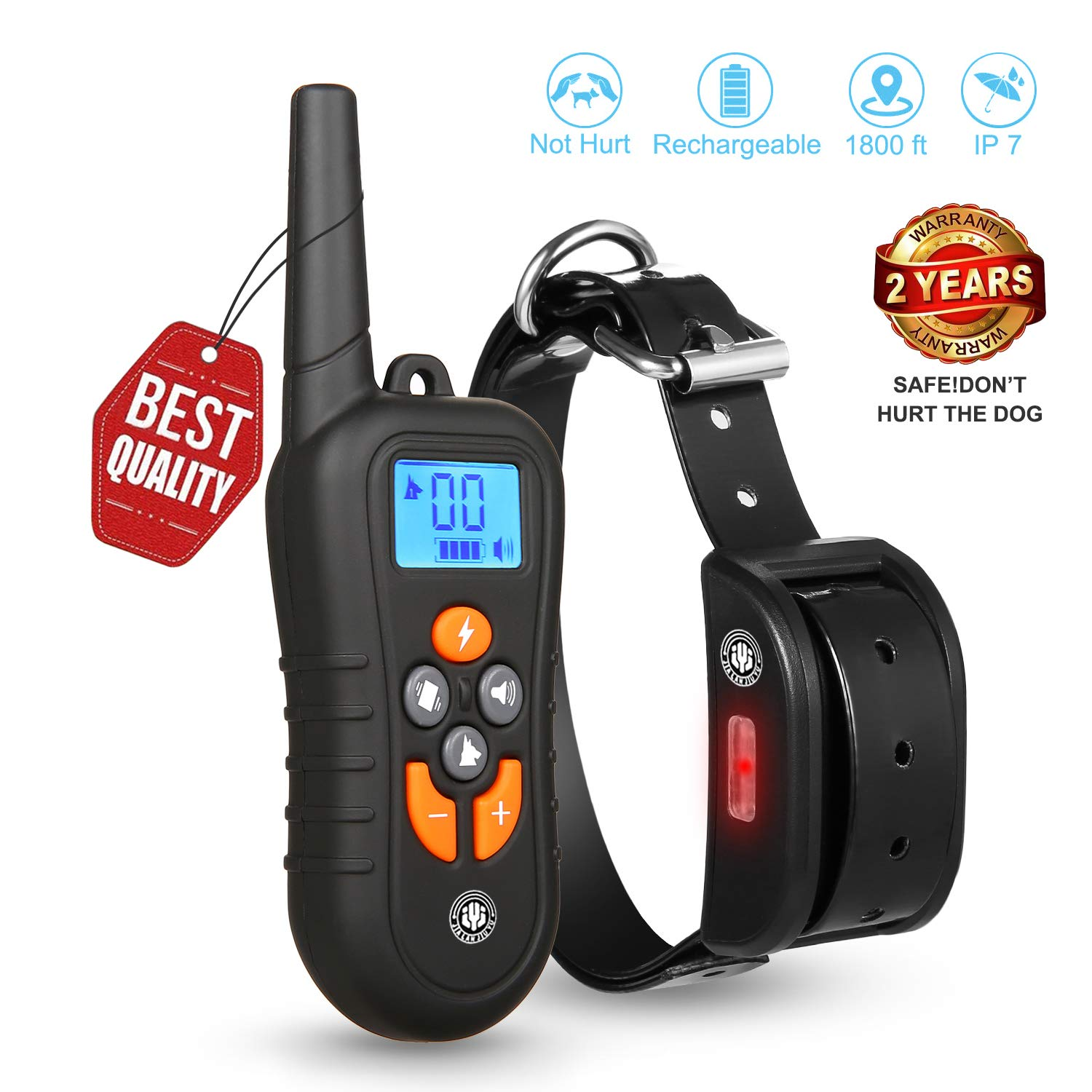 Dog Training Collar,Training Collar for dogs, NO Hurt and Rechargeable and IP7 Level Waterproof with 1800FT Remote Beep/vibration/Shock Electronic Collar Modes for Small Medium Large Dogs (BlackMain)