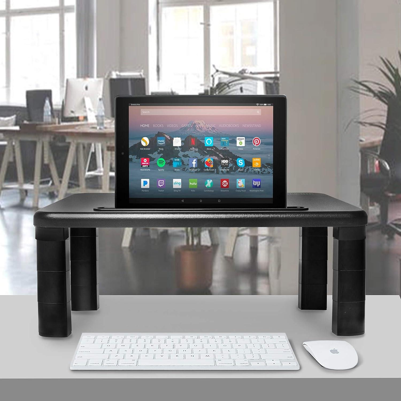 Duronic DM055 Soporte Monitor, Mesa Gamer, Elevador Pantalla, Portátil, TV con Altura Regulable de 4 a 15 cm y Superficie de 40 x 28 cm: Amazon.es: ...