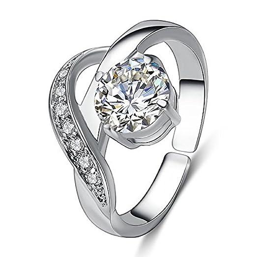 Amazoncom eManco Wave Shaped CZ Stone Engagement Rings Silver