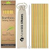 Pajitas de bambú reutilizables 100% naturales, biodegradables, respetuosas con el medio ambiente, juego de pajitas de cóctel con bolsa de almacenamiento de lino y embalaje reciclado