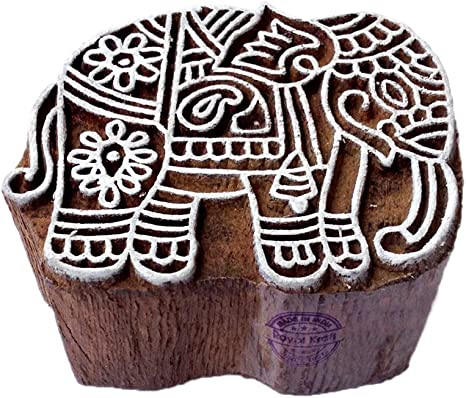 Royal Kraft Elephant Wooden Animal Printing Block Stamp DIY Henna Fabric Textile Paper Clay Pottery Block Printing Stamp TDtag001