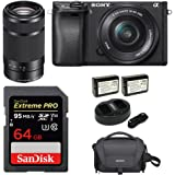 Sony Alpha a6300 Mirrorless Digital Camera w/ 16-50mm f/3.5-5.6 & E 55-210mm f/4.5-6.3 OSS Lens & Kit Bundle