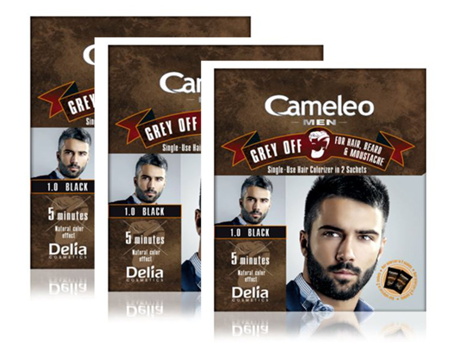 Cameleo Men Hair Beard Mustache Black Color Cream Grey OFF - Ammonia, PPD Free, 5 min (pack of 3) by Delia Cosmetics