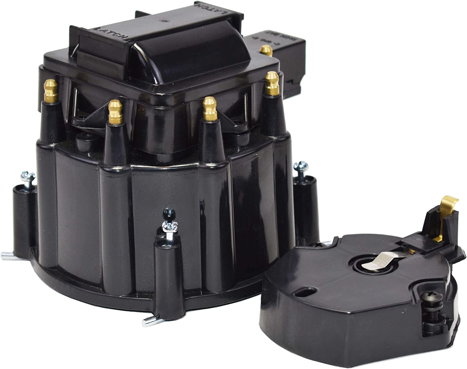 A-Team Performance CR8BK HEI OEM Distributor Cap Rotor and Coil Cover Kit Black