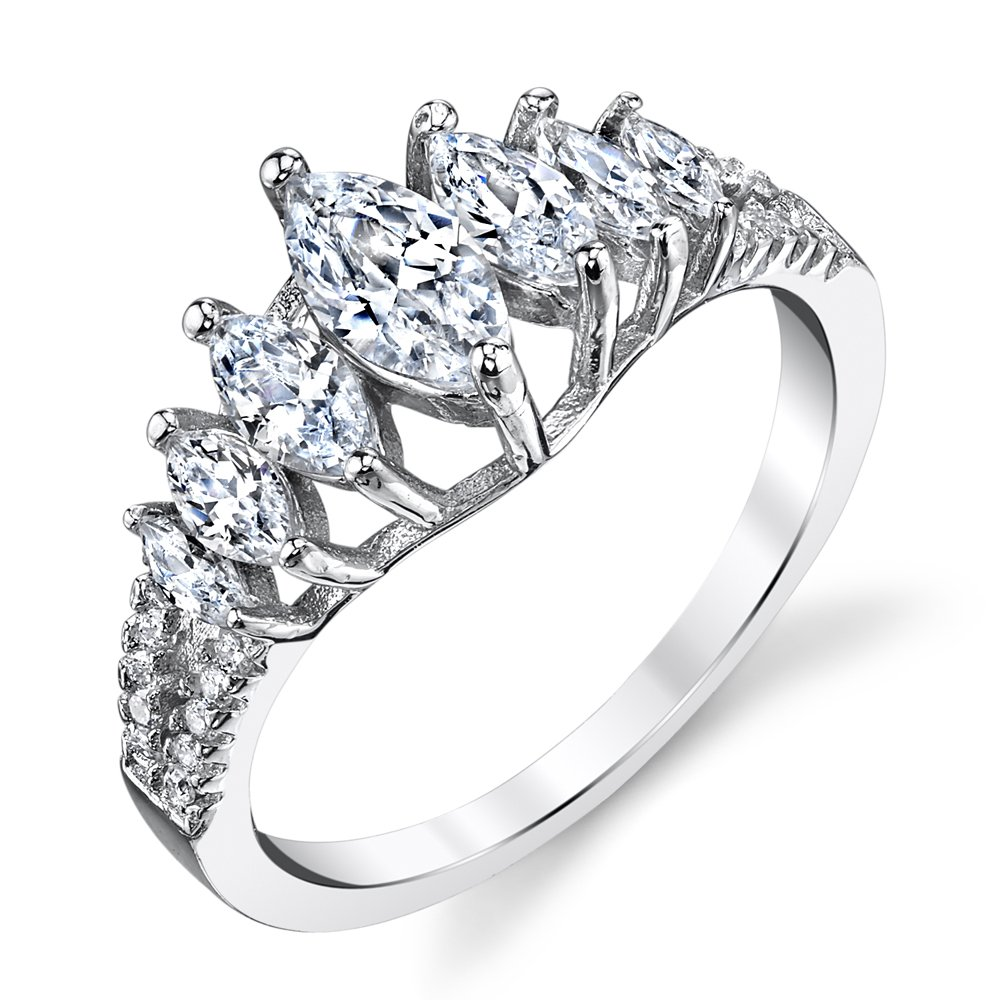 Sterling Silver CZ Marquise Anniversary Wedding band Cubic Zirconias