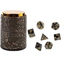 Fenteer Dados Dice D4 D6 D8 D10 D12 D20 + Copa de Dados Accesorios para DND MTG RPG Juego - negro