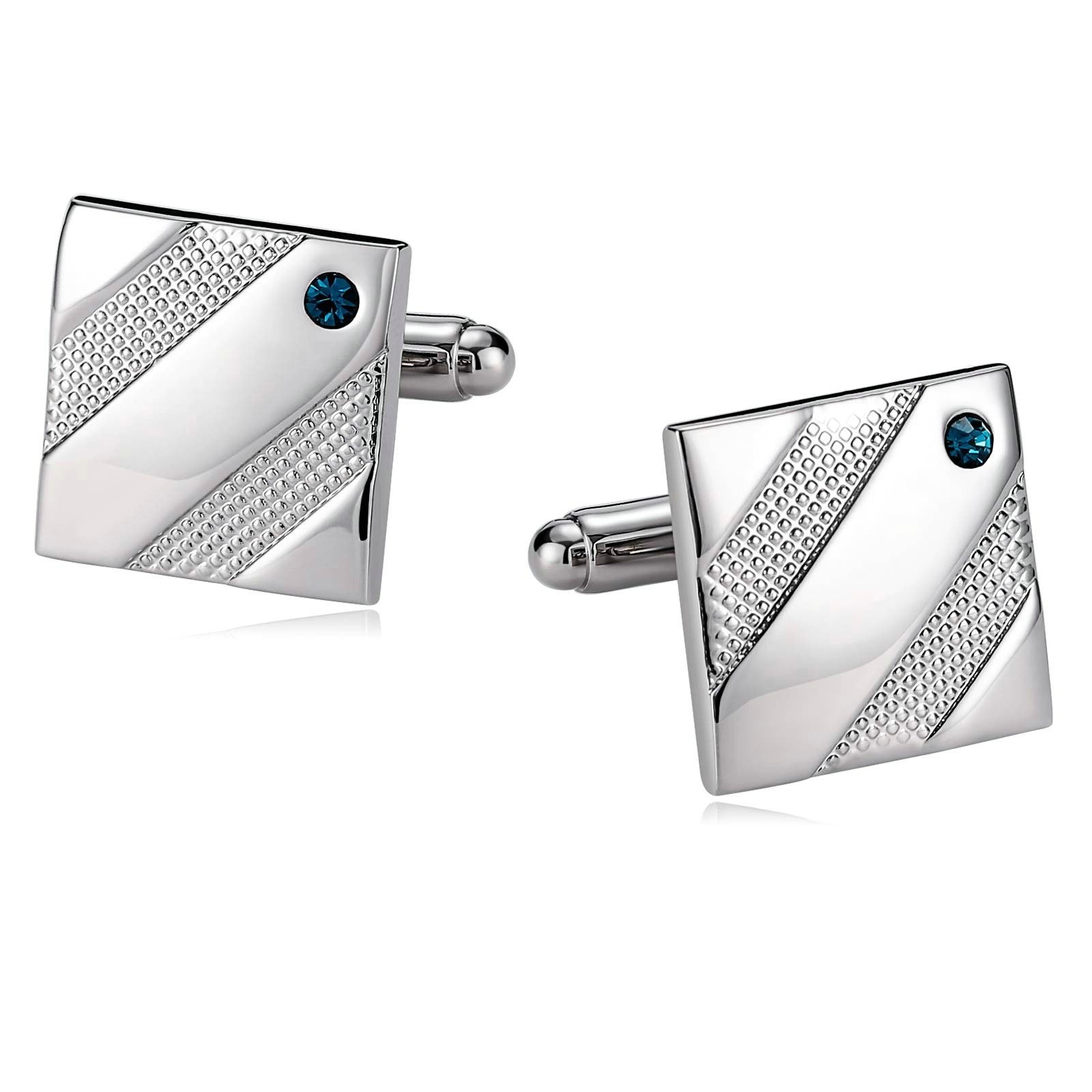 KnSam Cufflinks for Men Stainless Steel Diagonal Single Crystal Square Silver Blue