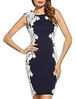 ACEVOG Women's Elegant Lace-Paneled Cocktail Pencil Bodycon Dress