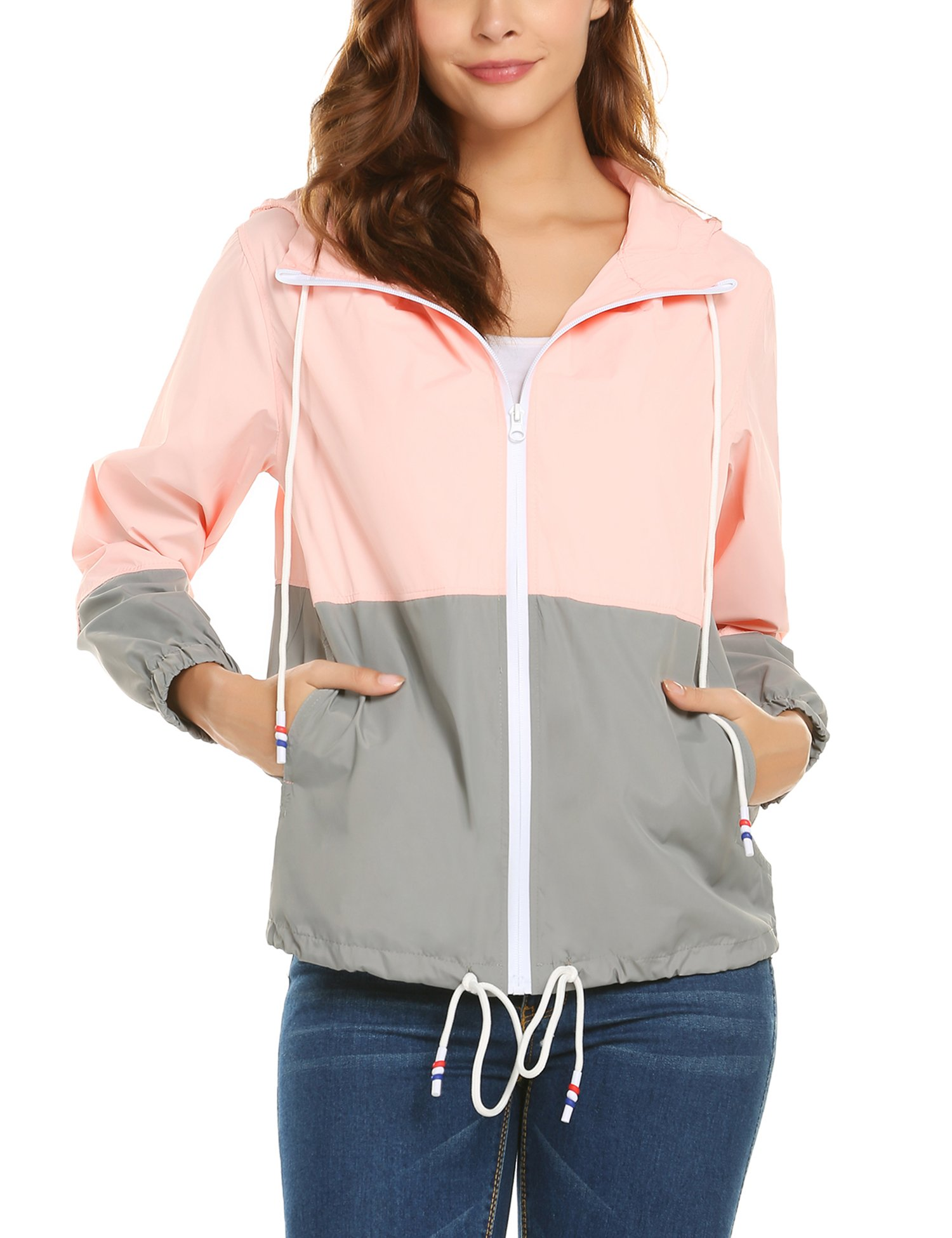 ZHENWEI Women's Lightweight Raincoat Zip up Casual Hoodie Rain Jacket Pink L by ZHENWEI (Image #3)