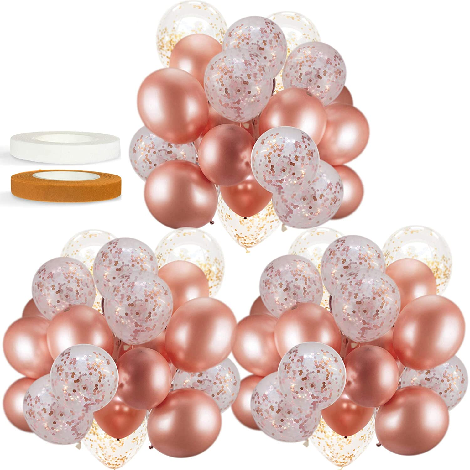 60 PACK Dandy Decor Rose Gold Balloons + Confetti Balloons w/ Ribbon | Rosegold Balloons for Parties | Bridal & Baby Shower Balloon Decorations | Latex Party Balloons | Graduation, Engagement, Wedding: Health & Personal Care
