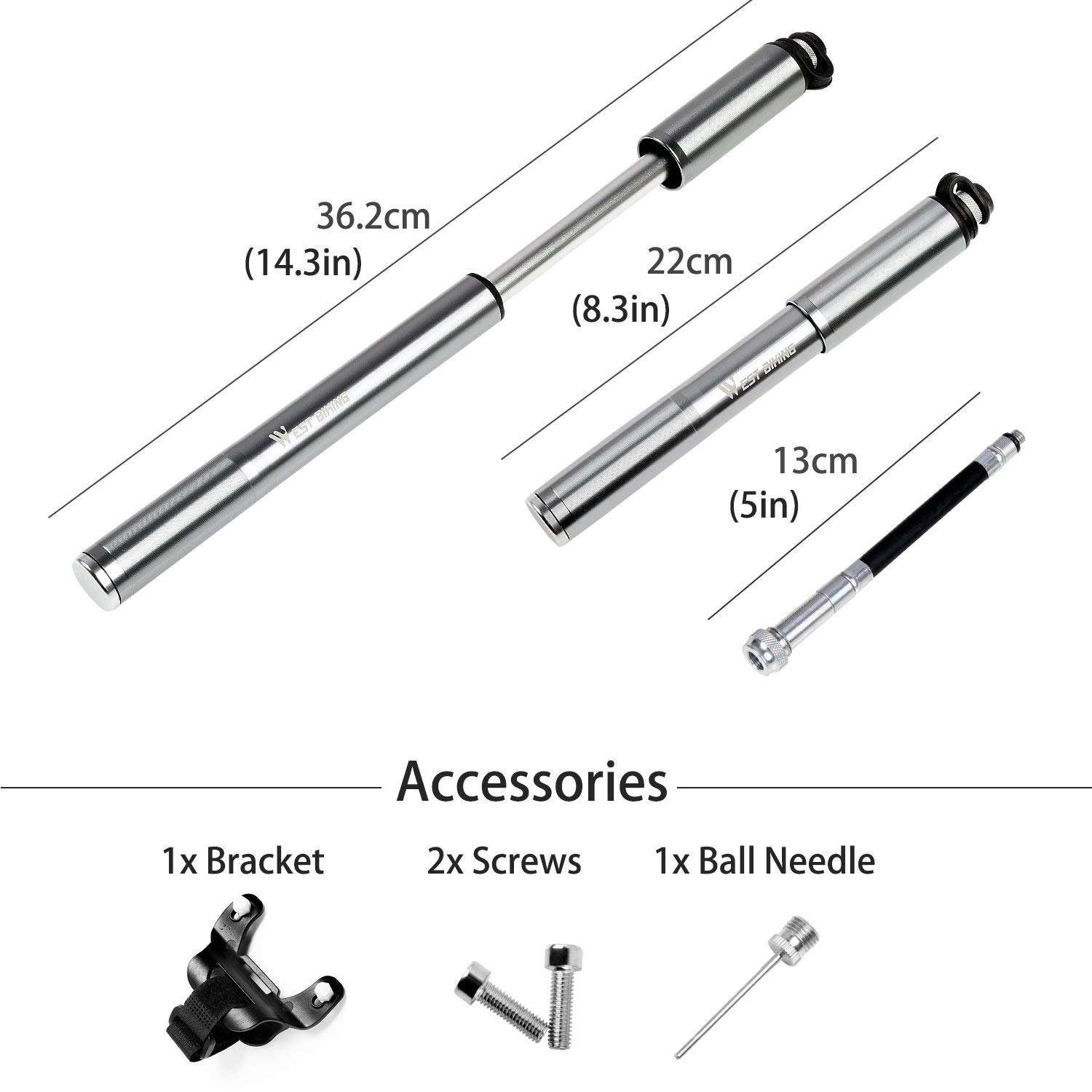 Mini Bike Pump with Gauge 160 PSI Portable High Pressure Hand Pump with Ball Needle for MTB Road BMX Bike Presta /& Schrader Compatible Bicycle Tire Pump
