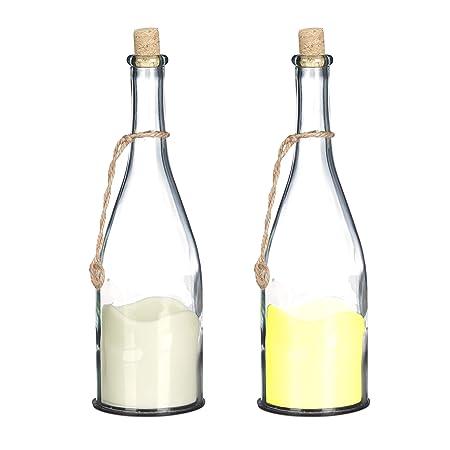 Relaxdays, 30 cm, Crema Botella con Vela LED, Luz cálida ...
