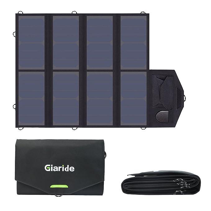 GIARIDE Cargador Solar 12V 18V 40W Portátil Plegable Panel Solar (18V DC 5V USB) para Laptop Tablets Móviles iPhone Galaxy Andorid Banco de energía ...