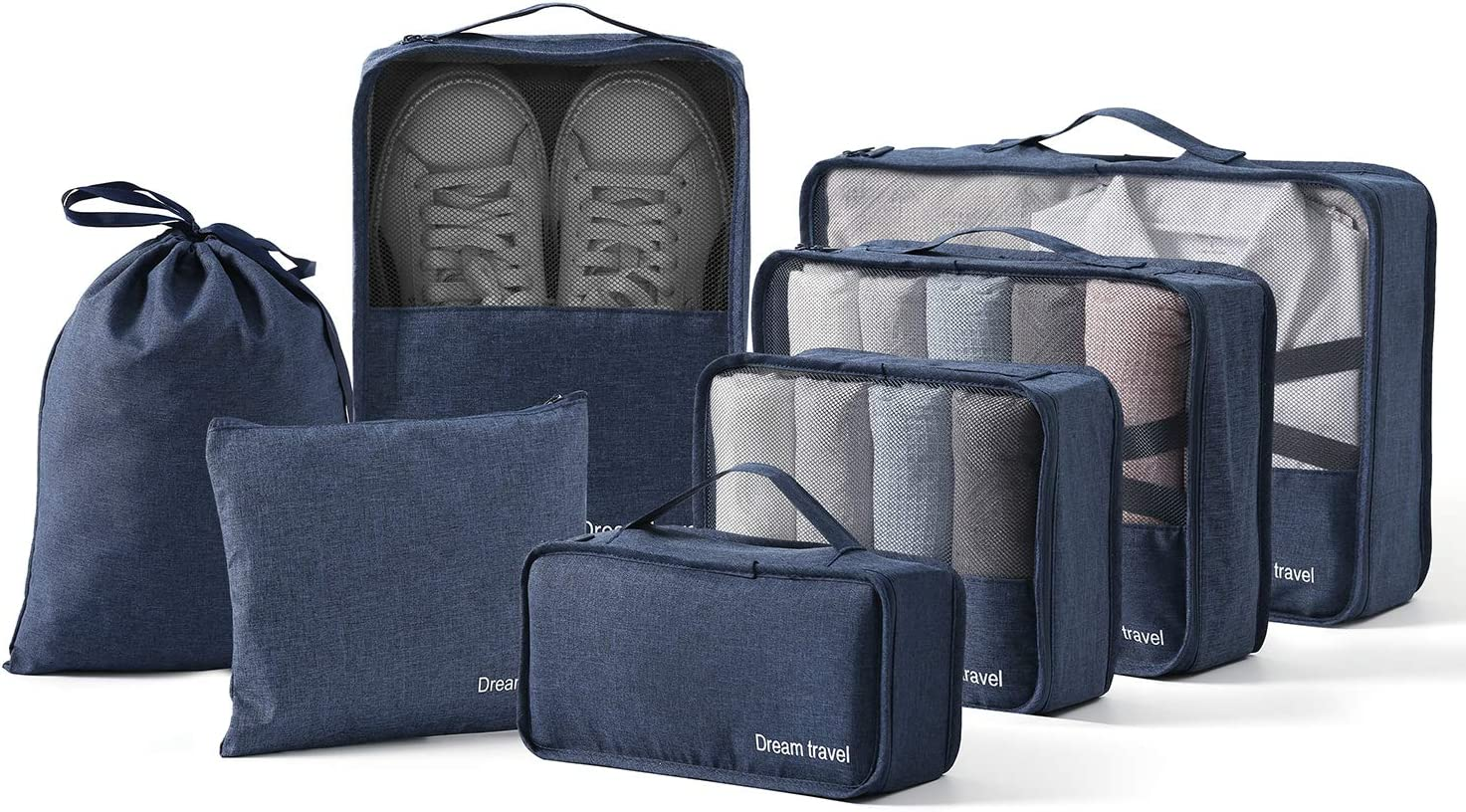 BIMNOOT Packing Cubes 7-Pcs Travel Luggage Packing Organizers Set with Laundry Bag & Shoe Bag (Blue)