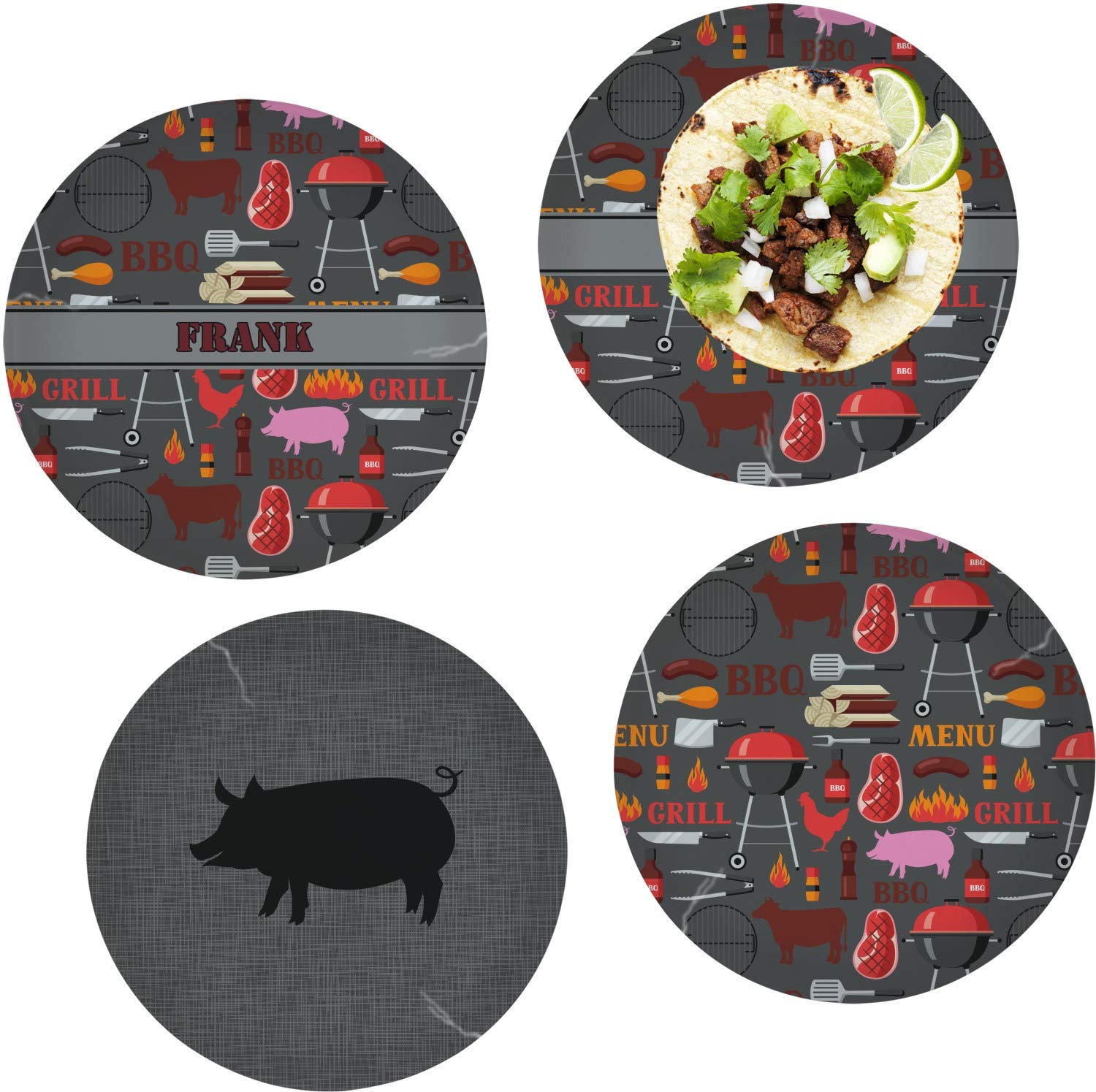 Barbeque Set of 4 Glass Lunch/Dinner Plate 10'' (Personalized)
