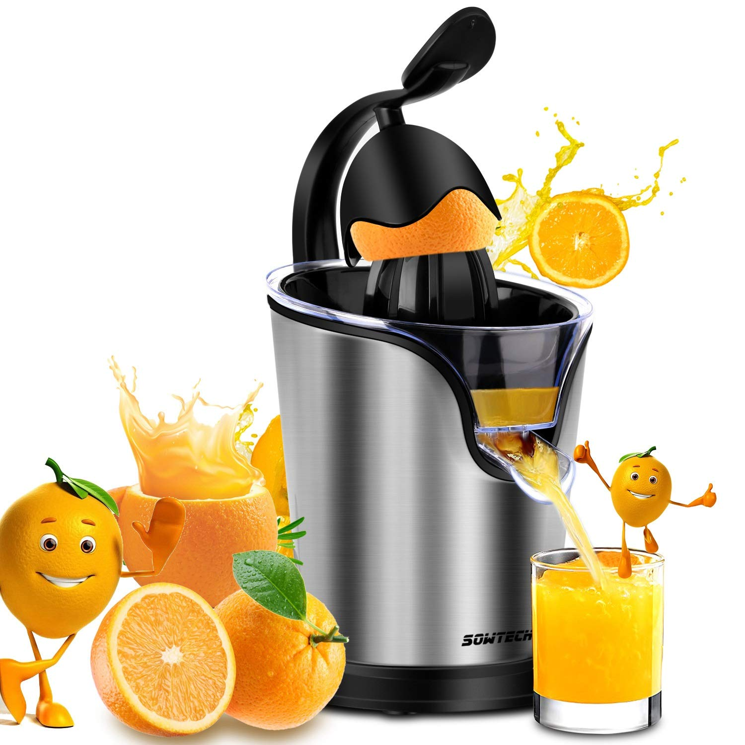 Electric Citrus Juicer Sowtech 2 in 1 Stainless Steel Squeezer Anti-drip Citrus Press for Squeeze Fresh Orange Lemon and Lime ST-HM203