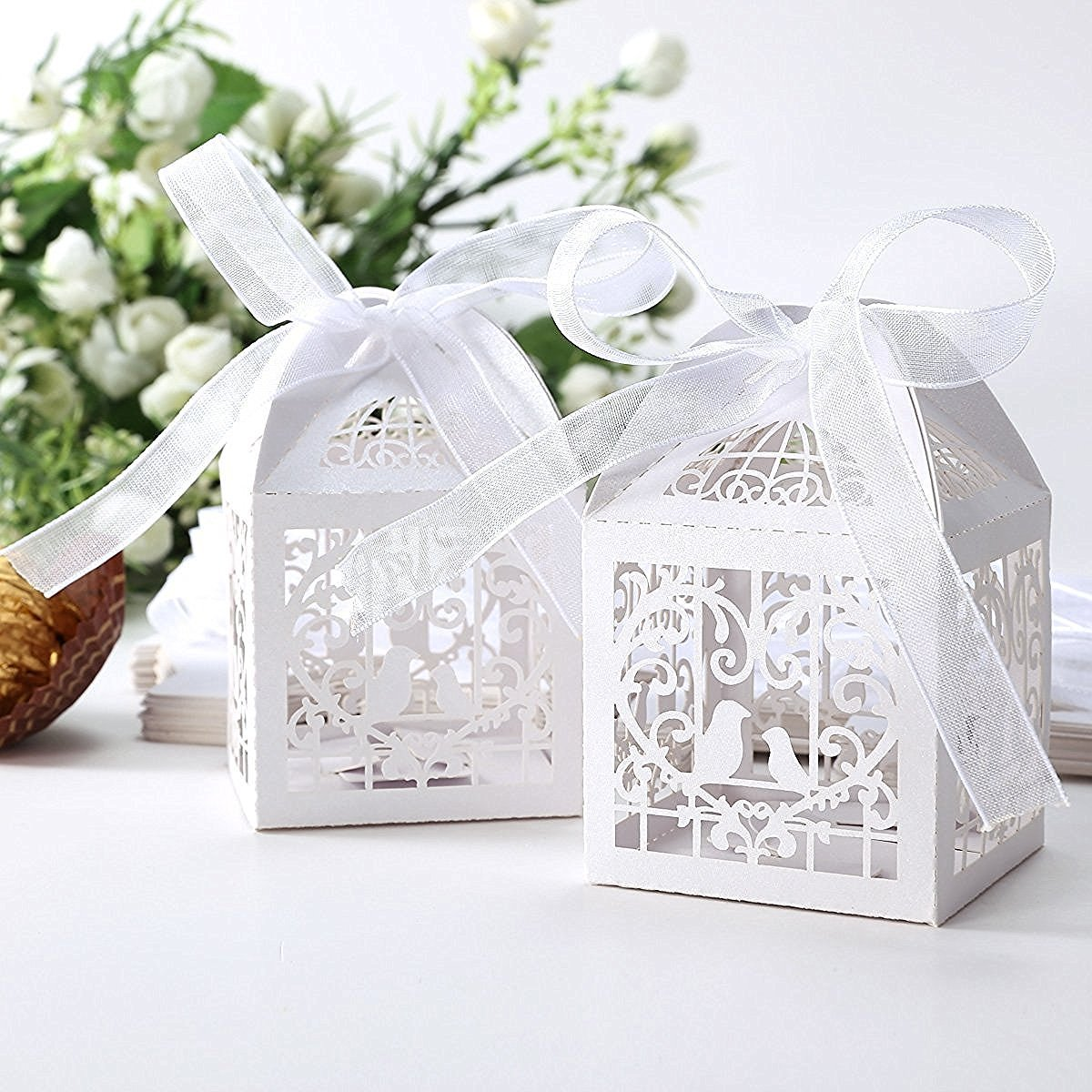Amazon.com: 50pcs Laser Cut Candy Boxes, 2\'\'x2\'\'x2\'\' Rose Butterfly ...