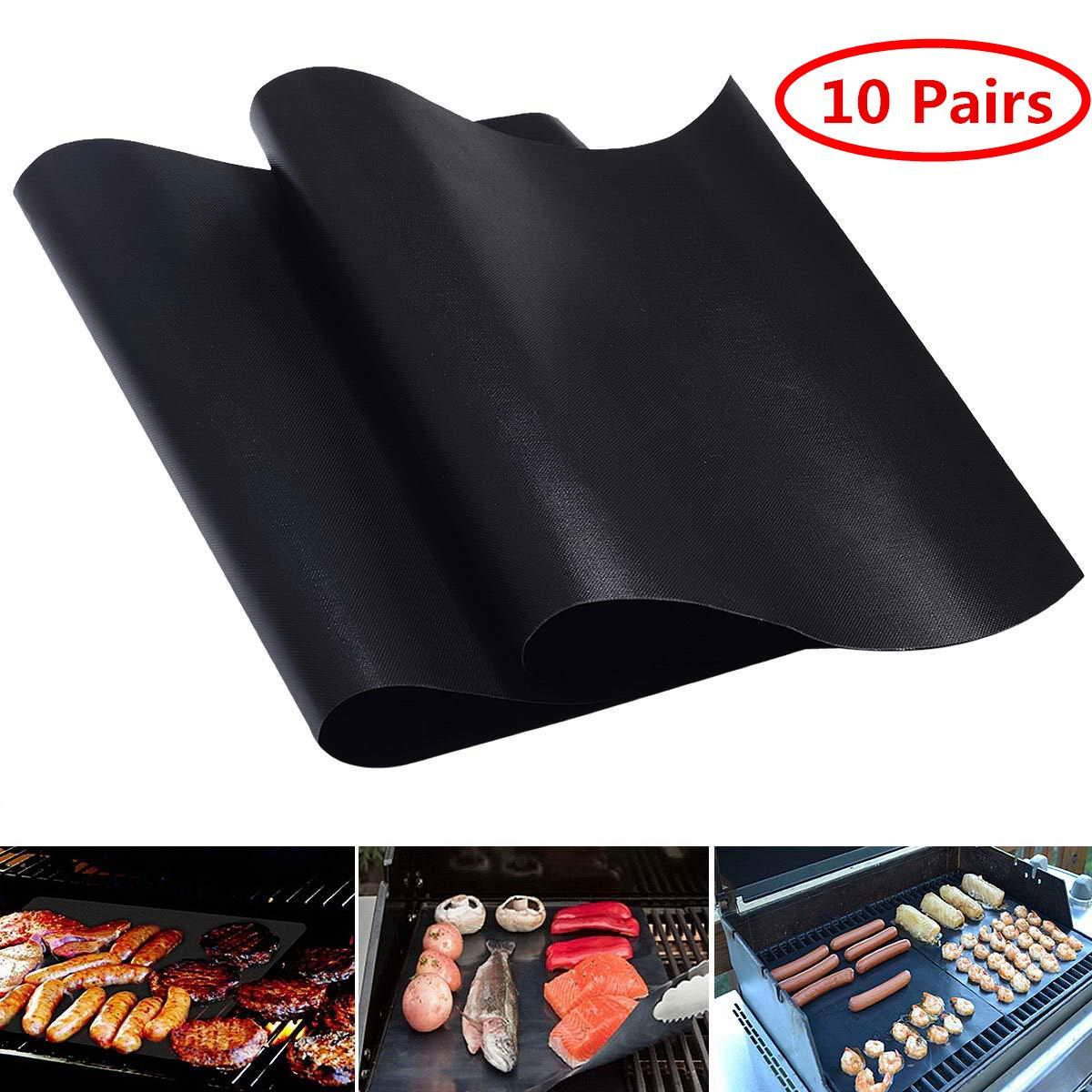 S AFSTAR Safstar BBQ Grill Mats Stick Grilling Mat Baking Sheet Mat Copper Grill Mats Pad Non-Stick Reusable 15.75 x 13 Inch (10 Pairs)