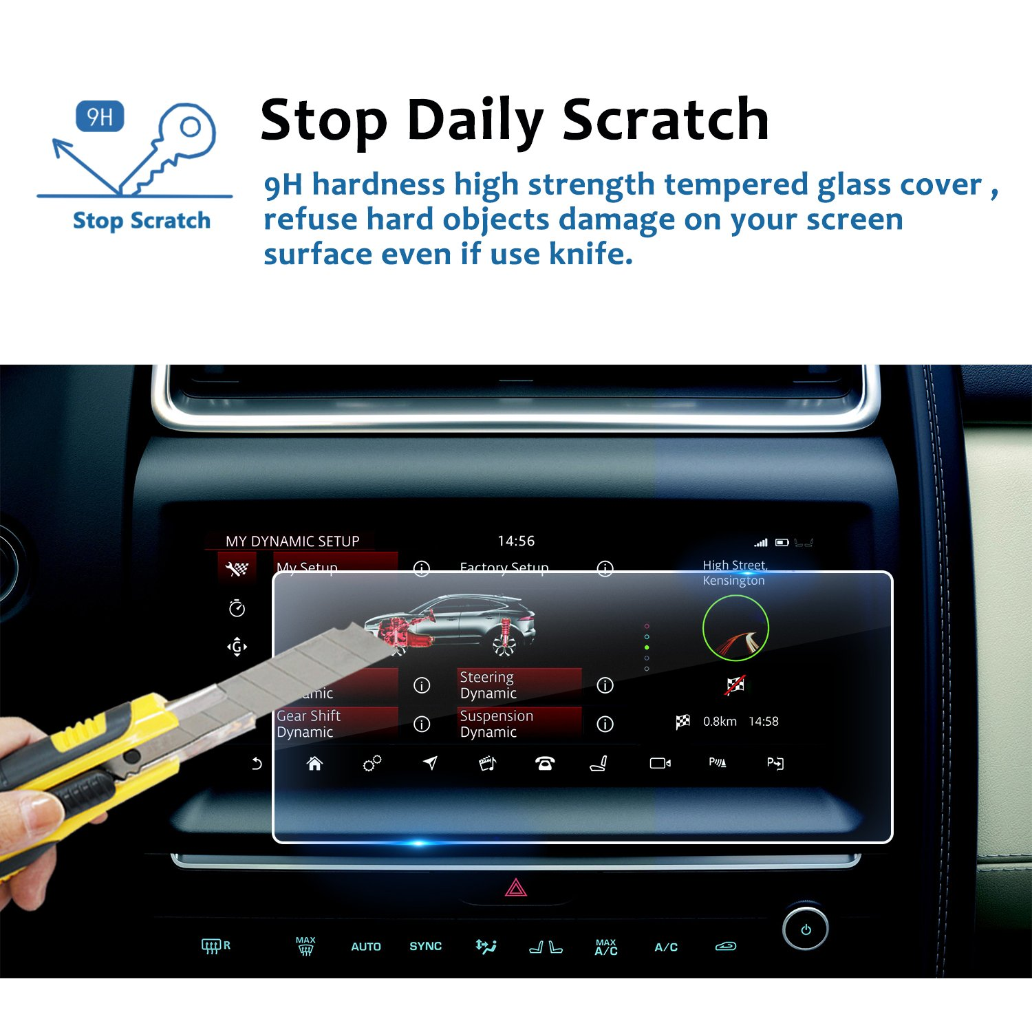 LFOTPP Tempered Glass In-Dash Clear Screen Protector LiFan 2018 Jaguar E-Pace InControl Touch Pro 10.3 Inch Center Touch Screen Protector