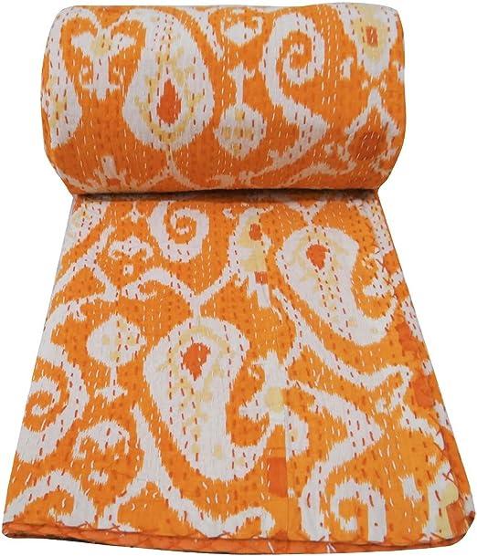 Indian Ikat Kantha Quilt Handmade Bedspread Twin Size Reversible Gudari Blanket