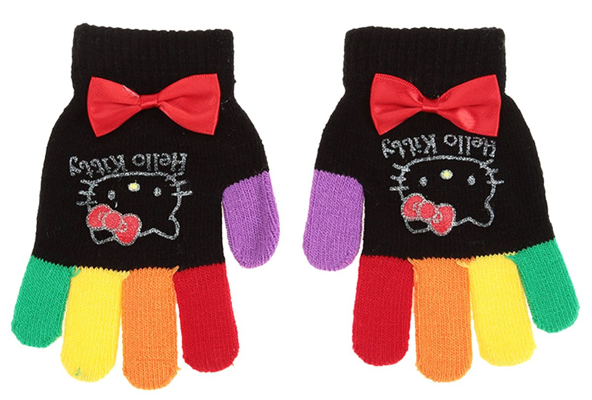 c76626a0a Hello Kitty Multicoloured Girls' Gloves with Bow - Black (One Size):  Amazon.co.uk: Baby