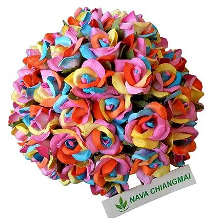 NAVA CHIANGMAI Rainbow Roses Mulerry Paper Flower