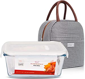36.8oz DAS TRUST Meal Prep Containers with Lunch Bag Stackable Glass Food Storage Containers Bento Boxes with Leakproof Locking Lids, No BPA, Oven Microwave Freezer Dishwasher Safe