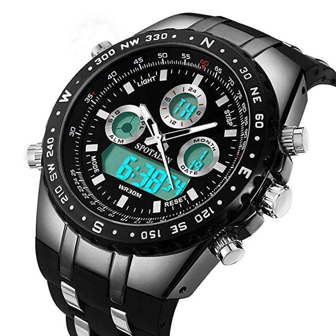 Men Watches Big Face Sports Wrist Watch for Men Waterproof Military Analog Digital Watches with Black Silicone Band