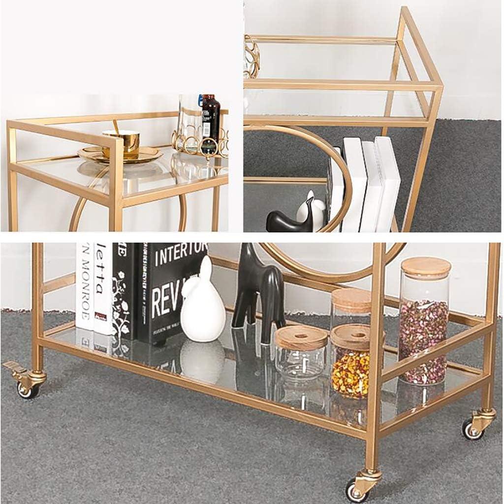 Carrello da Bar Industriale Moderno per Interni in Ferro E Vetro Ruote con Rotelle per Bloccaggio Montatura in Metallo Opaco Finitura Oro CHUW Carrello da Bar