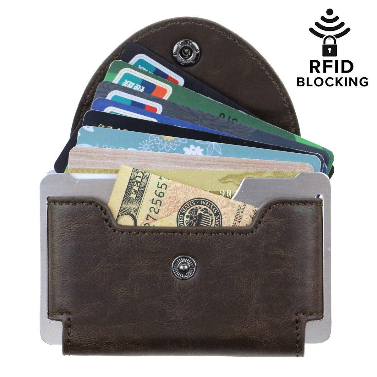 Cimostar Minimalist Wallet RFID BLOCKING Credit Card Holder Slim Pocket Credit Card Wallet For Men and Women (Brown)