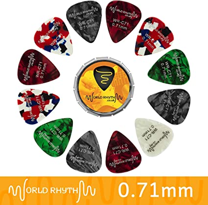 World Rhythm WR-C71 - Púas de guitarra (0,71 mm, 12 púas de celuloide para guitarra y lata de almacenamiento, gama de colores/diseños)