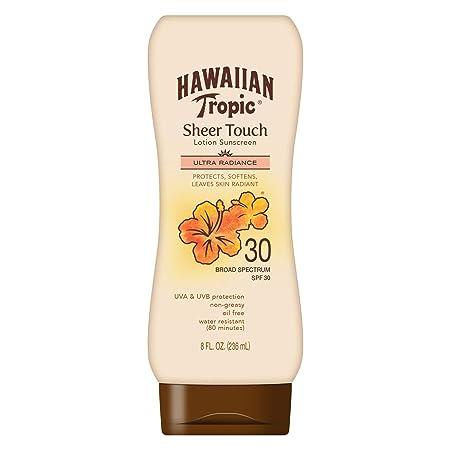 Hawaiian Tropic Sheer Touch Lotion Sunscreen, Moisturizing Broad-Spectrum Protection, SPF 30, 8 Ounces
