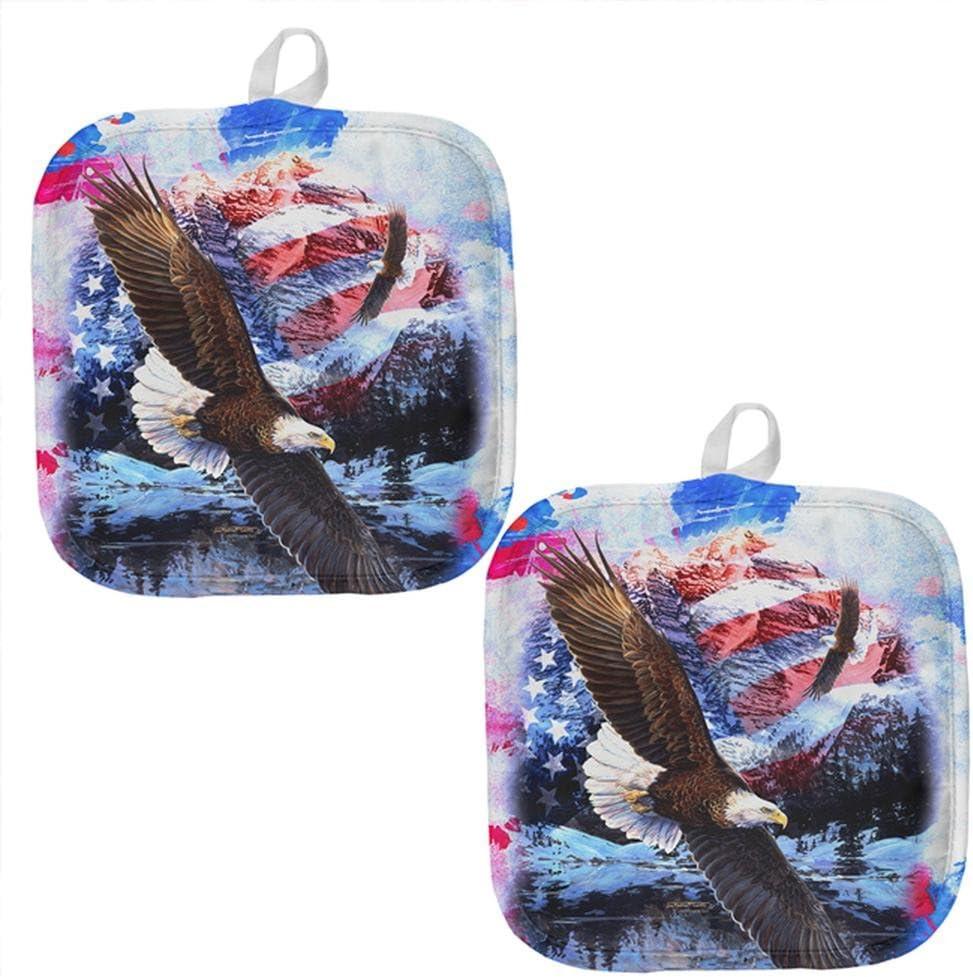 4th of July American Flag Bald Eagle Splatter All Over Pot Holder (Set of 2) Multi Standard One Size
