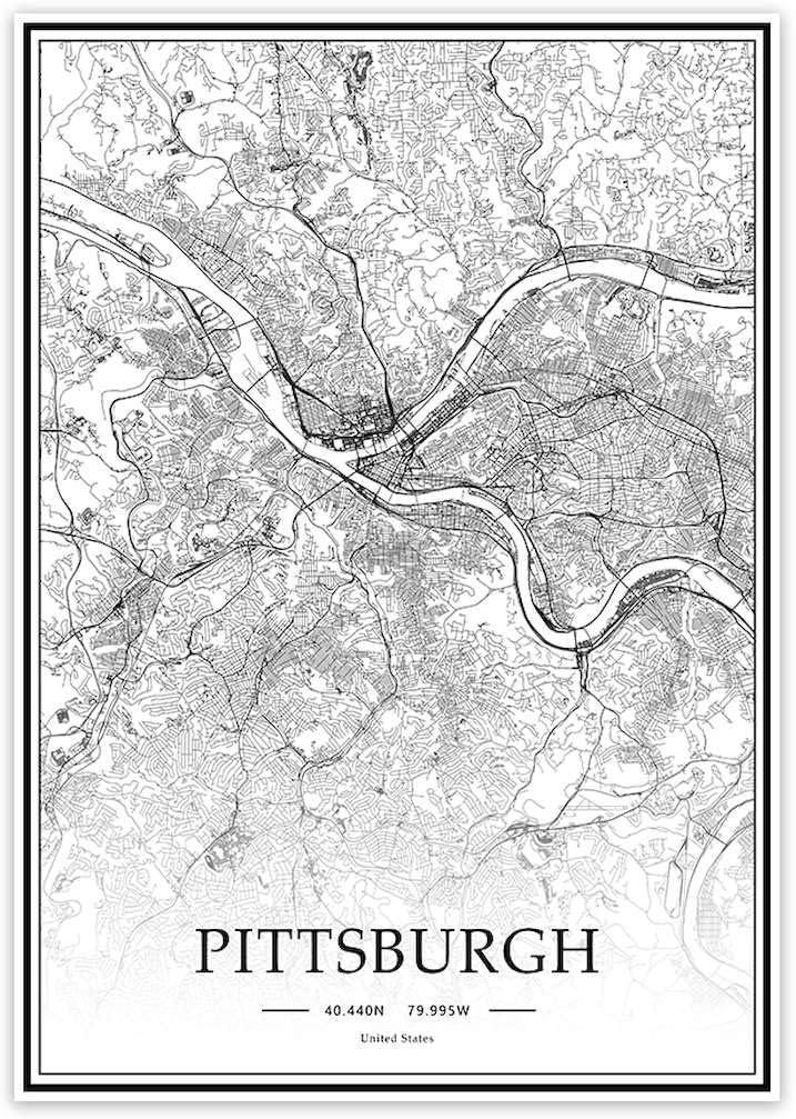 USA Pittsburgh Black&White Minimalist Art 20×28 City Map Painting Poster Home Decor Gift