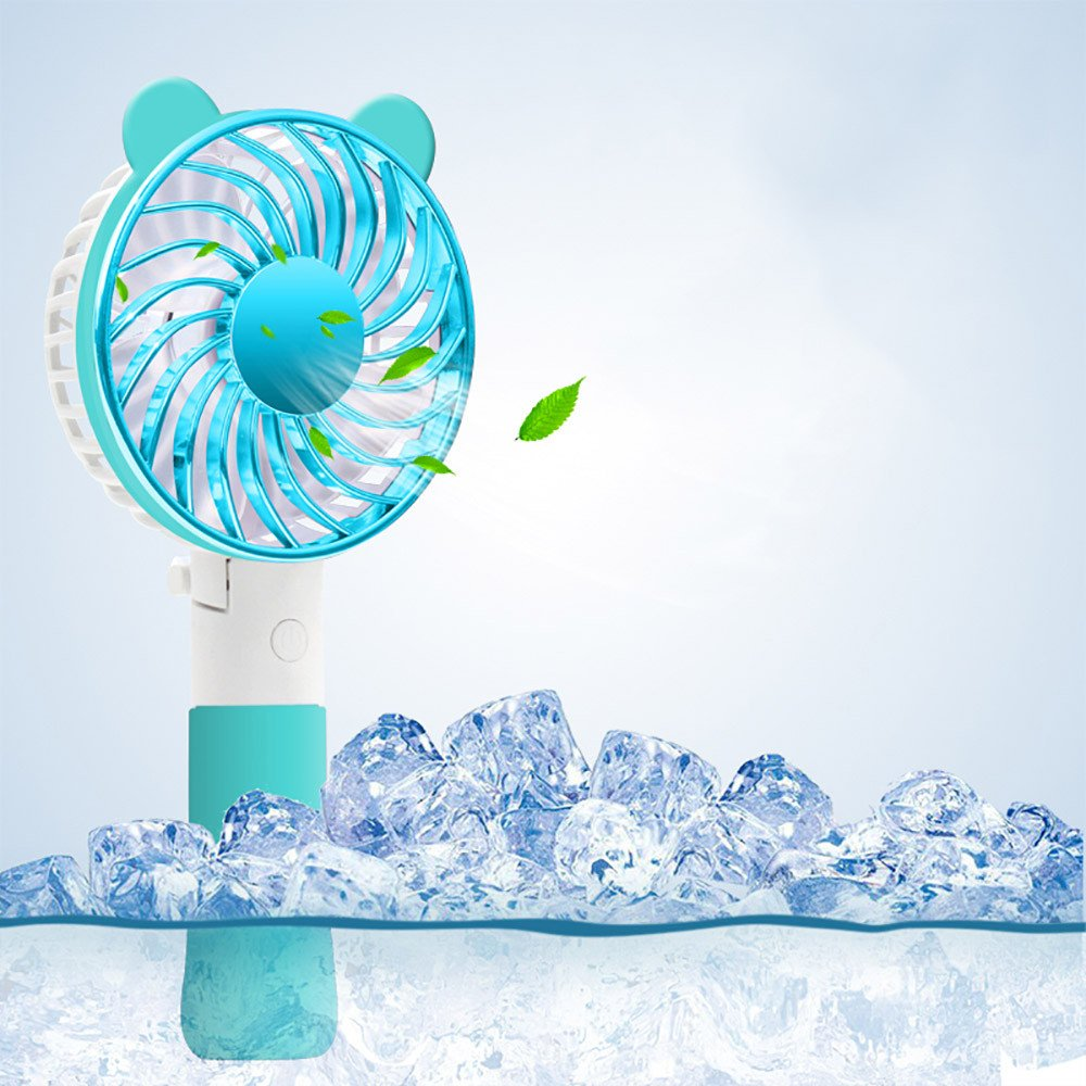 Staron Handheld Fan Battery Operated Bear Ear Fan No Pedestal Handheld Personal Cooling Rechargeable Portable (Blue)