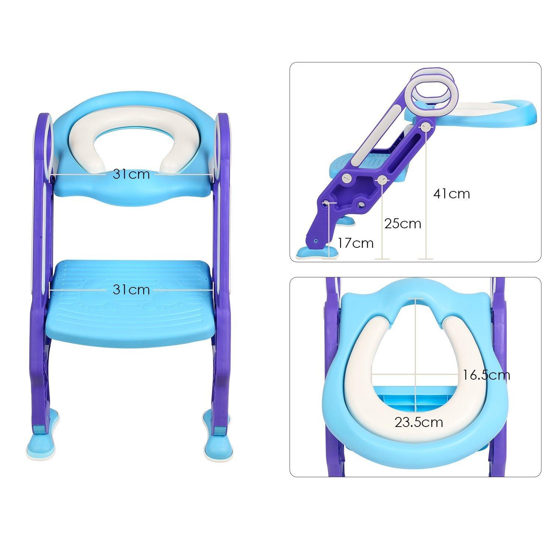 BAMNY Aseo Escalera Asiento Escalera del tocador de ni/ños Asiento para WC con escal/ón plegable Orinal Formaci/ón Color azul