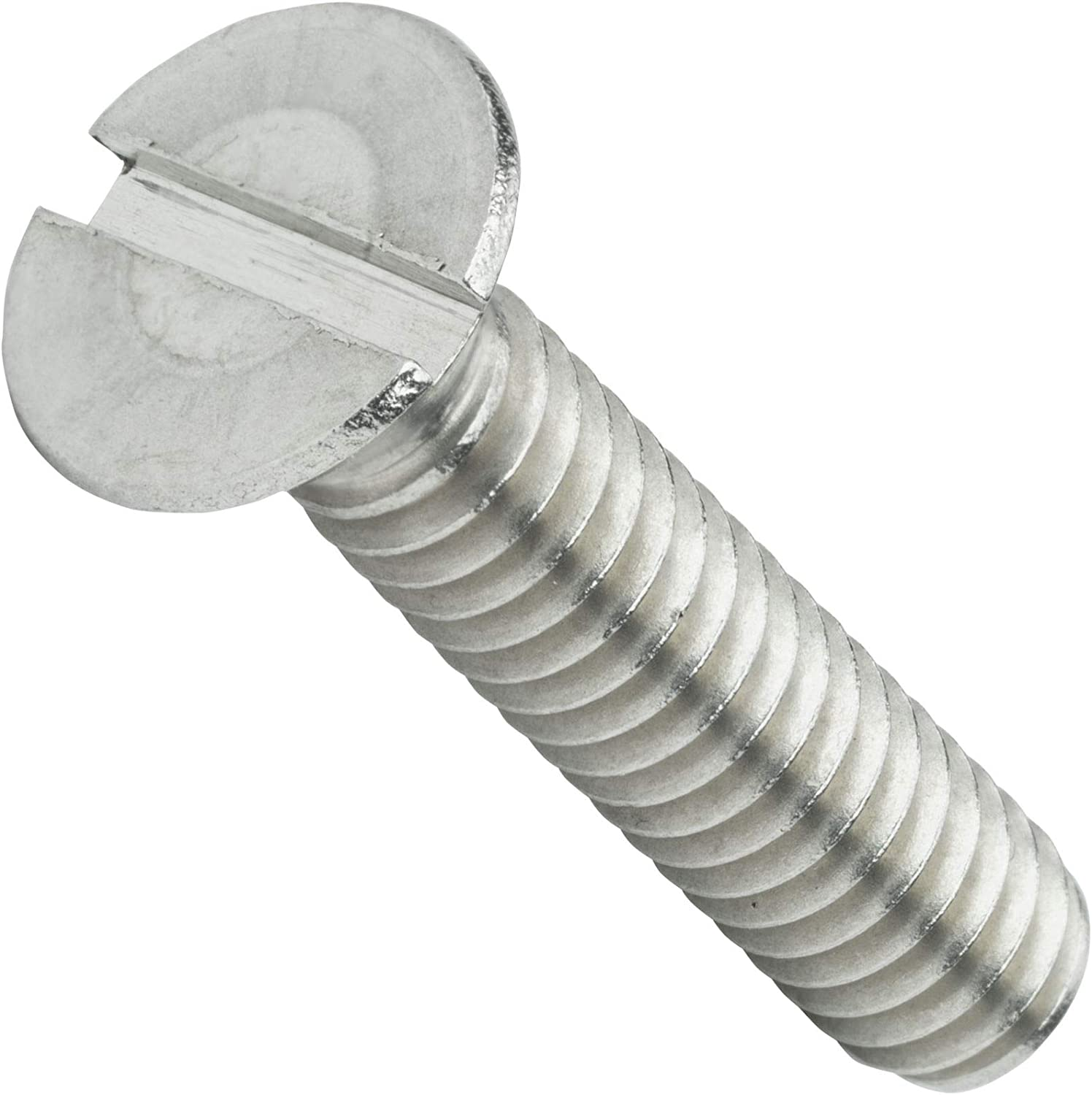 5//16-18 x 4 in - Lot 25 Stainless Steel Machine Screws Slotted Flat Head