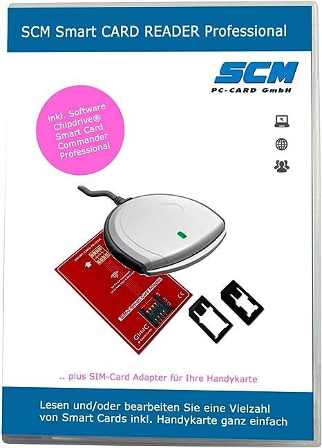 SCM Smart Card Reader Professional - Lector de Tarjetas Plus software para leer la tarjeta SIM/varios otro Smart Cards/Online banking: Amazon.es: Informática