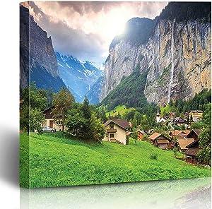 Onete Canvas Prints European Green Fields Touristic Town Lauterbrunnen Bernese Oberland Switzerland Europe Green Grey 18