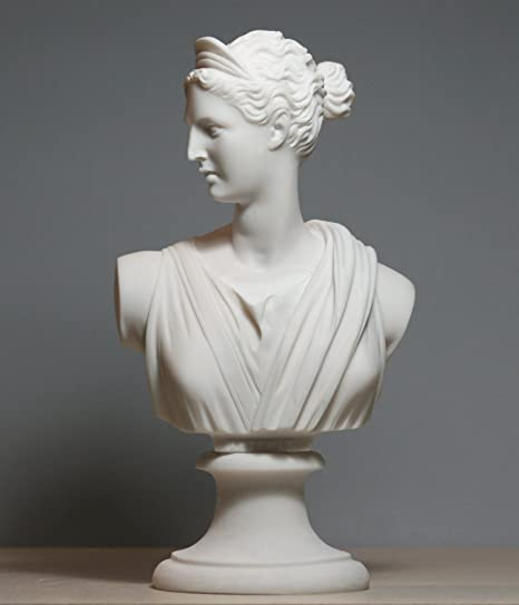 ANTIKE FRAUENBÜSTE ARTEMIS BÜSTE GÖTTIN DIANA FIGUR Frauenkopf Weiss Statue