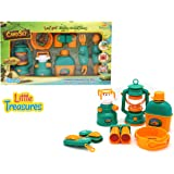 Little Treasures Camping Toys Survival Kit Children Play Kit - Pretend Play Outdoor Cookware Camping Gear Play Set